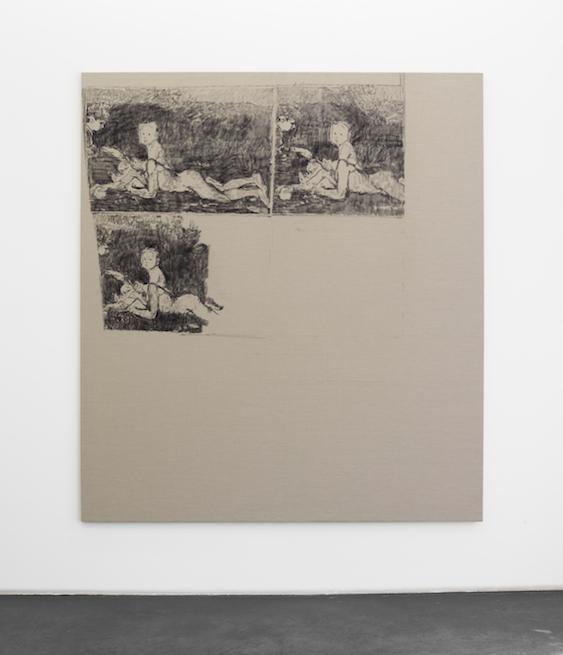 """Cosima von Bonin Sergej Jensen Michael Krebber – """"Orangenpflücker"""", 2014 Kohle auf Leinen 207 x 185 cm"""