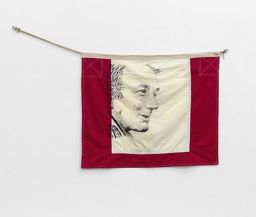 """Cosima von Bonin Sergej Jensen Michael Krebber – """"Meine Preise"""", 2014 Acryl auf Flagge 82 x 100 cm"""