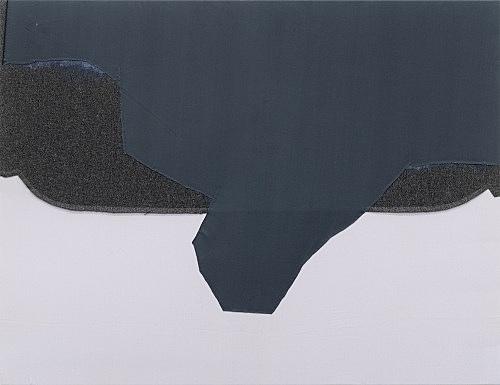 """Cosima von Bonin Sergej Jensen Michael Krebber – """"Die Welle"""", 2014 Acryl auf genähter Wolle und Baumwolle 95 x 125 cm"""