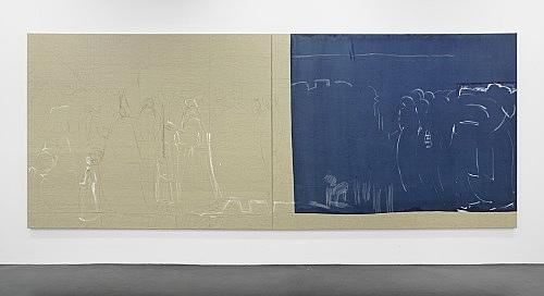 "Cosima von Bonin Sergej Jensen Michael Krebber – ""Das große Portemonnaie I (no future)"", 2014 Acryl, Kreide, Kohle auf genähtem Leinen 2 Teile: je 200 x 260 cm"