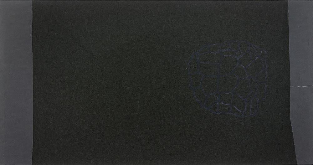 """Cosima von Bonin Sergej Jensen Michael Krebber – """"No. 15"""", 2014 Acryl auf genähter Wolle 145 x 280 cm"""