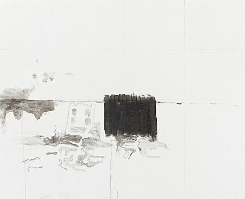 """Cosima von Bonin Sergej Jensen Michael Krebber – """"Das weiße Desaster"""", 2014 Acryl und Bleistift auf Leinwand 85 x 105 cm"""