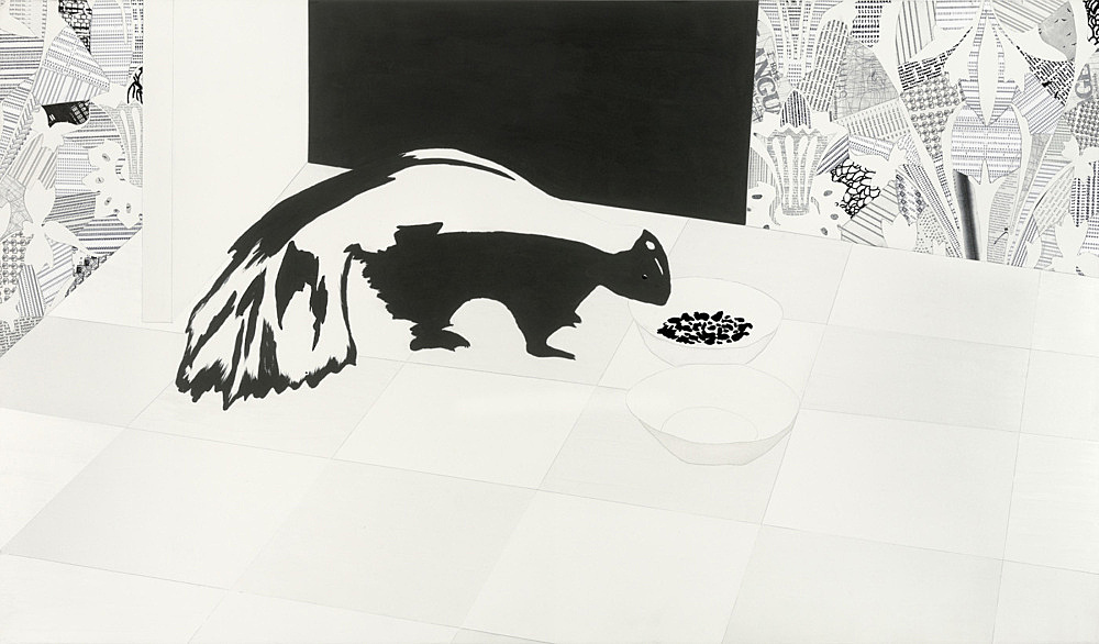 """Frances Stark – """"Welcome and Unwelcome"""", 2006 vinyl paint, collage on panel 91,5 x 157,5 cm"""