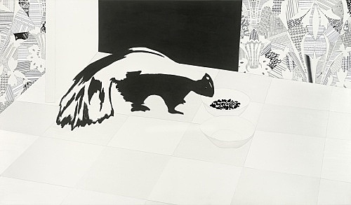 "Frances Stark – ""Welcome and Unwelcome"", 2006 vinyl paint, collage on panel 91,5 x 157,5 cm"
