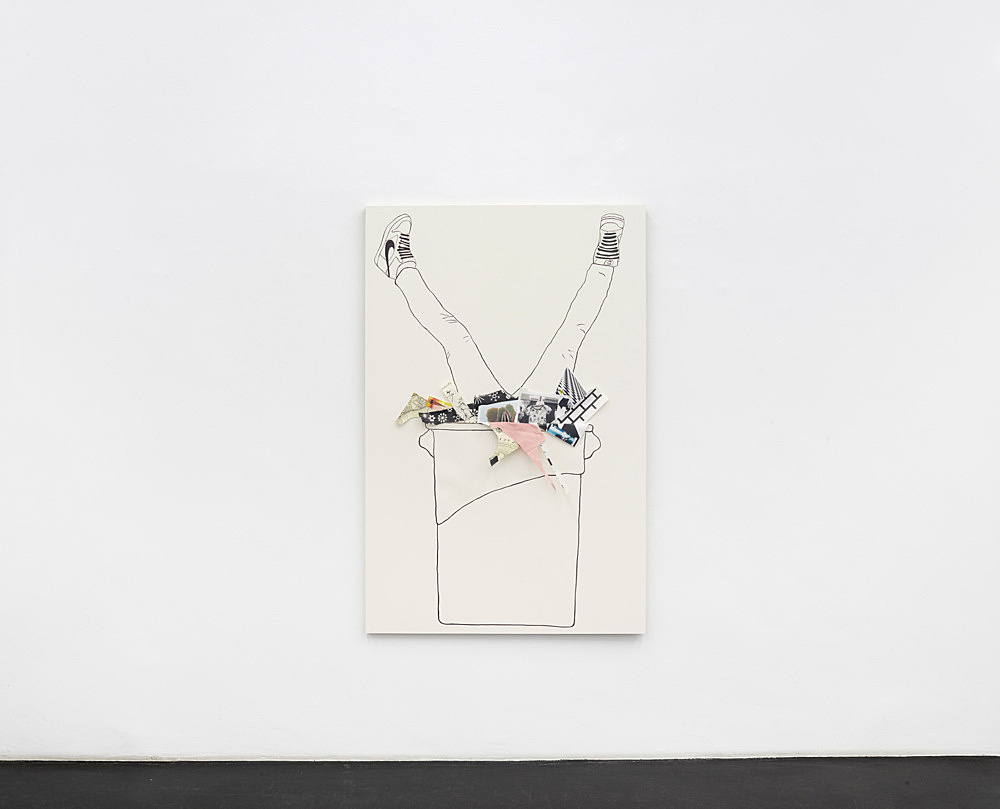 """Frances Stark – """"Trojan Bin"""", 2014 sumi ink on arches paper with collage, vacuum sealed on aluminum and wood 147,5 x 96,7 cm"""