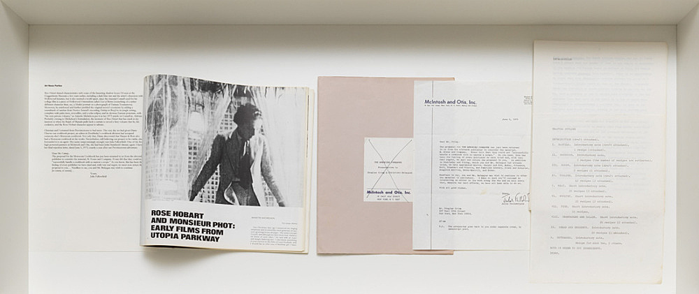 """Joseph Cornell – Artforum International, June New York 1973 Anette Michelson: """"Rose Hobart and Monsieur Phot: Early Films from Utopia Parkway"""" (pp. 47-57) Project for a Moroccan cookbook by Douglas Crimp and Christian Belaygue Original folder with manuscript, cover letter from literary agent dated 5 June 1973, table of contents"""