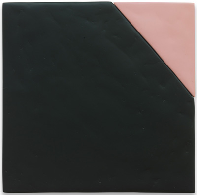 "Sadie Benning – ""Transitional Effect, Flat Black and Pink (for Douglas)"", 2012 rust-oleum flat black and rust-oleum painters touch flat sweet pea, medite 2, spray paint, dowls and plaster 30,5 x 30,5 cm"