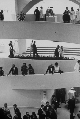 – Photograph from the opening reception of the exhibition Mastercraftsmen of Ancient Peru, Guggenheim Museum, New York, 1968