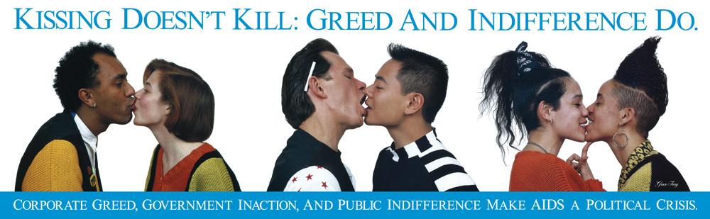 "Gran Fury – ""Kissing doesn't Kill"", 1989 poster 60 x 193 cm"