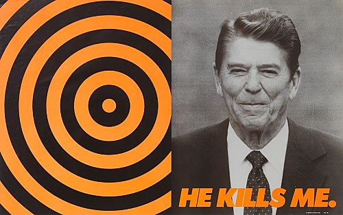 """Donald Moffett – """"He Kills Me"""", 1987 poster, offset lithography 60 x 95 cm"""