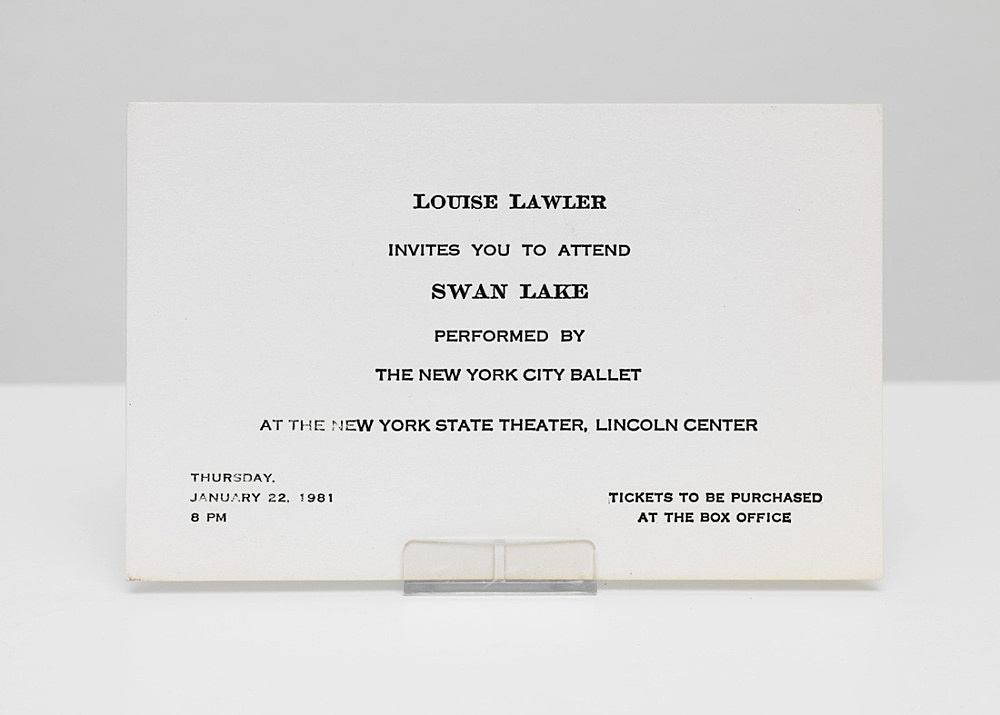 "Louise Lawler – ""Invites you to attend Swan Lake performed by The New York City Ballet at the New York State Theater, Lincoln Center – Thursday January 22nd, 1981, 8pm"" letterpress on cardstock 8,5 x 13,8 cm"