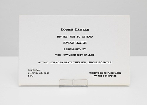 """Louise Lawler – """"Invites you to attend Swan Lake performed by The New York City Ballet at the New York State Theater, Lincoln Center – Thursday January 22nd, 1981, 8pm"""" letterpress on cardstock 8,5 x 13,8 cm"""