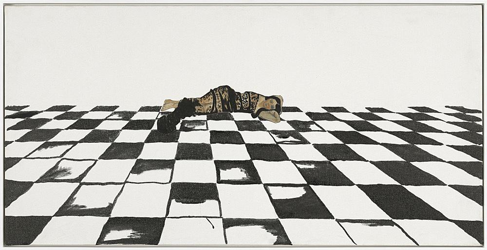 "Frances Stark – ""Figure/Ground, reclining model"", 2014 sumi ink, inkjet print on rice paper on canvas 45,8 x 91,5 x 2 cm"