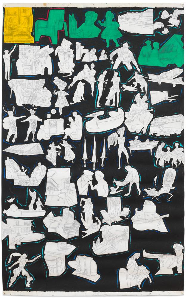 Philip Smith – Untitled, 1976/1977 oil pastel, oil paint & pencil on paper 257 x 157 cm