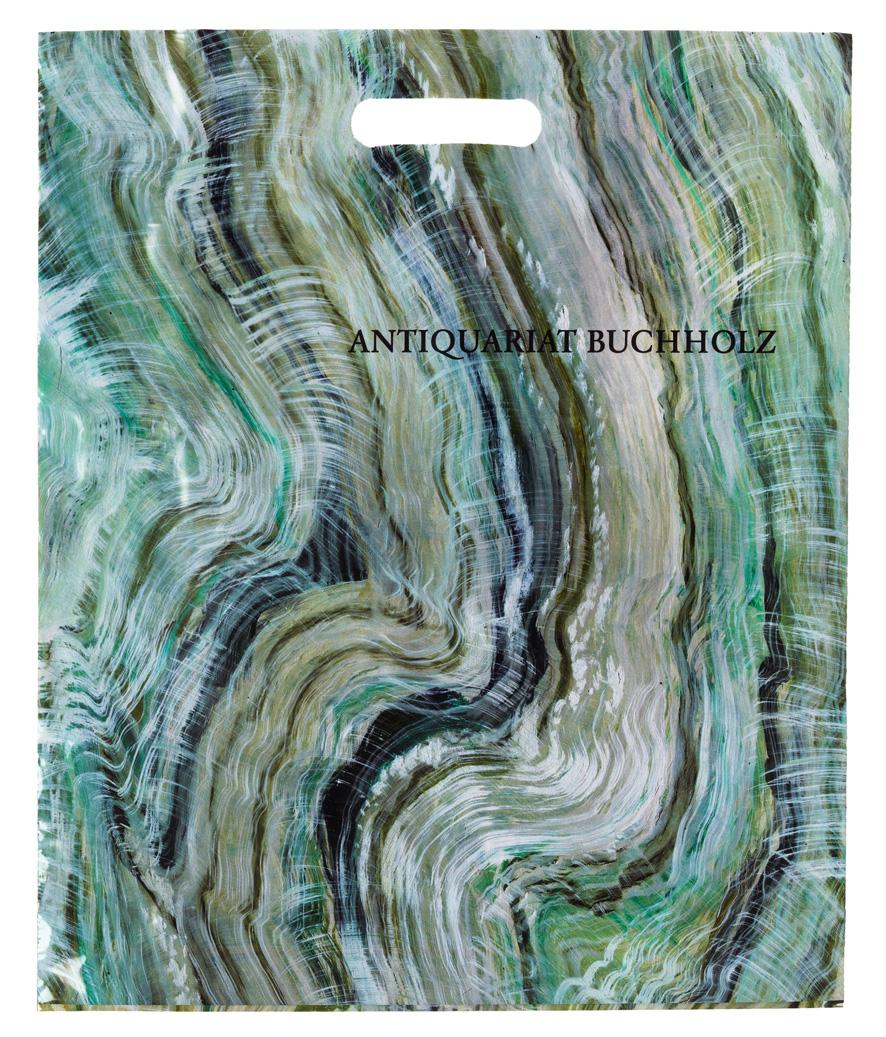 Lucy McKenzie – 2013, design for plastic shopping bag for Antiquariat Buchholz 44,5 x 38 cm –
