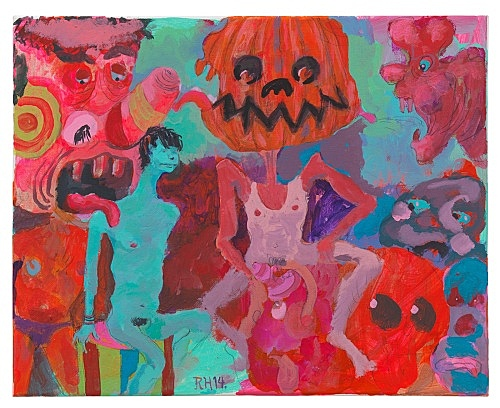 "Richard Hawkins – ""Pumpkinhead"", 2014 acrylic and pencil on canvas 40,5 x 51 cm"
