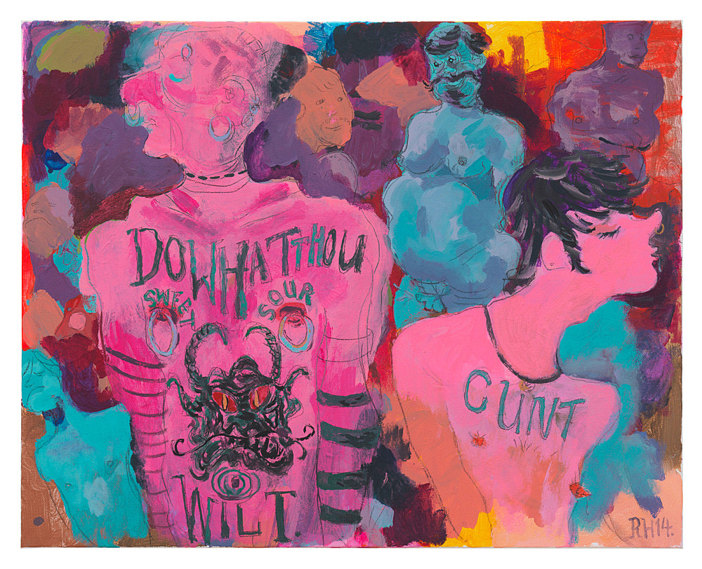 "Richard Hawkins – ""Do What Thou Wilt, Cunt"", 2014 acrylic and pencil on canvas 40,5 x 51 cm"