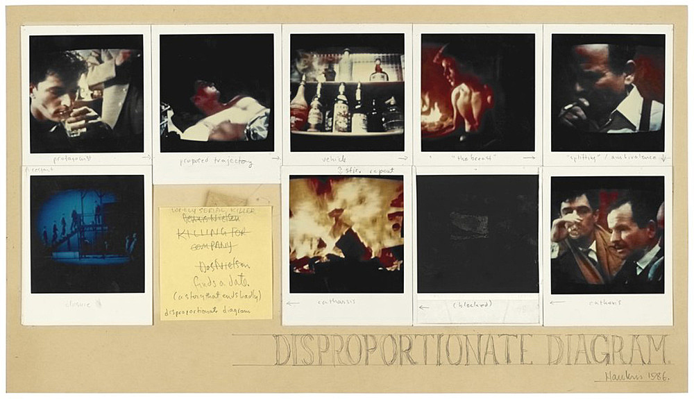 "Richard Hawkins – ""Polaroid Diagram 1: Disappropriate Diagram"", 1986 polaroid, post it and pencil on paper 26 x 46,5 cm"