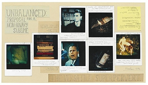 "Richard Hawkins – ""Polaroid Diagram 4: The Versatile Superpervert"", 1986 polaroid, post it and pencil on paper 26 x 46 cm"