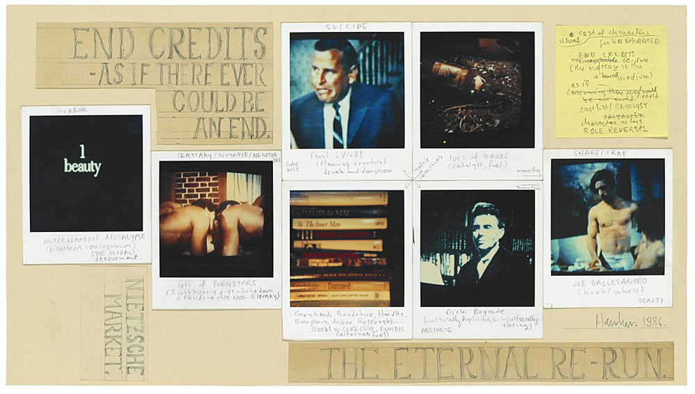 "Richard Hawkins – ""Polaroid Diagram 6: End-Credits"", 1986 polaroid, post it and pencil on paper 26 x 46 cm"
