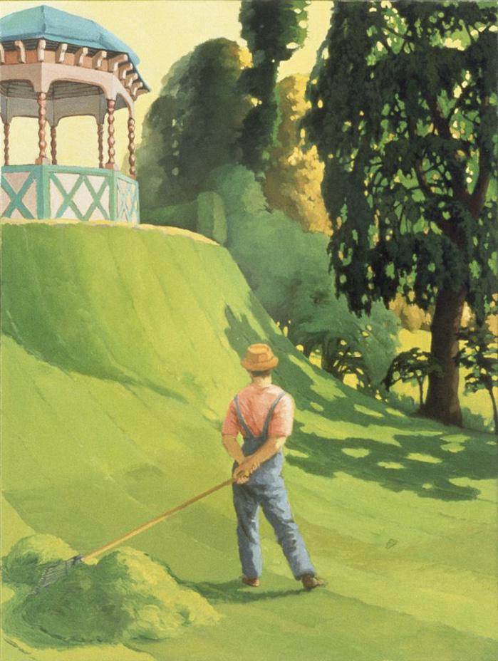 "Lukas Duwenhögger – ""Probleema"", 1995 wooden house on castors, wood, glass, metal, photo canvas, five paintings 300 x 400 x 300 cm detail"