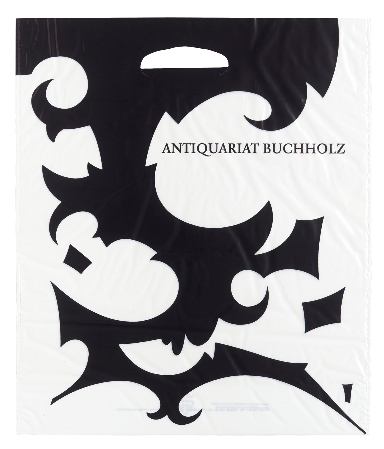 Julian Göthe – 2005, design for plastic shopping bag for Antiquariat Buchholz 43 x 38 cm –