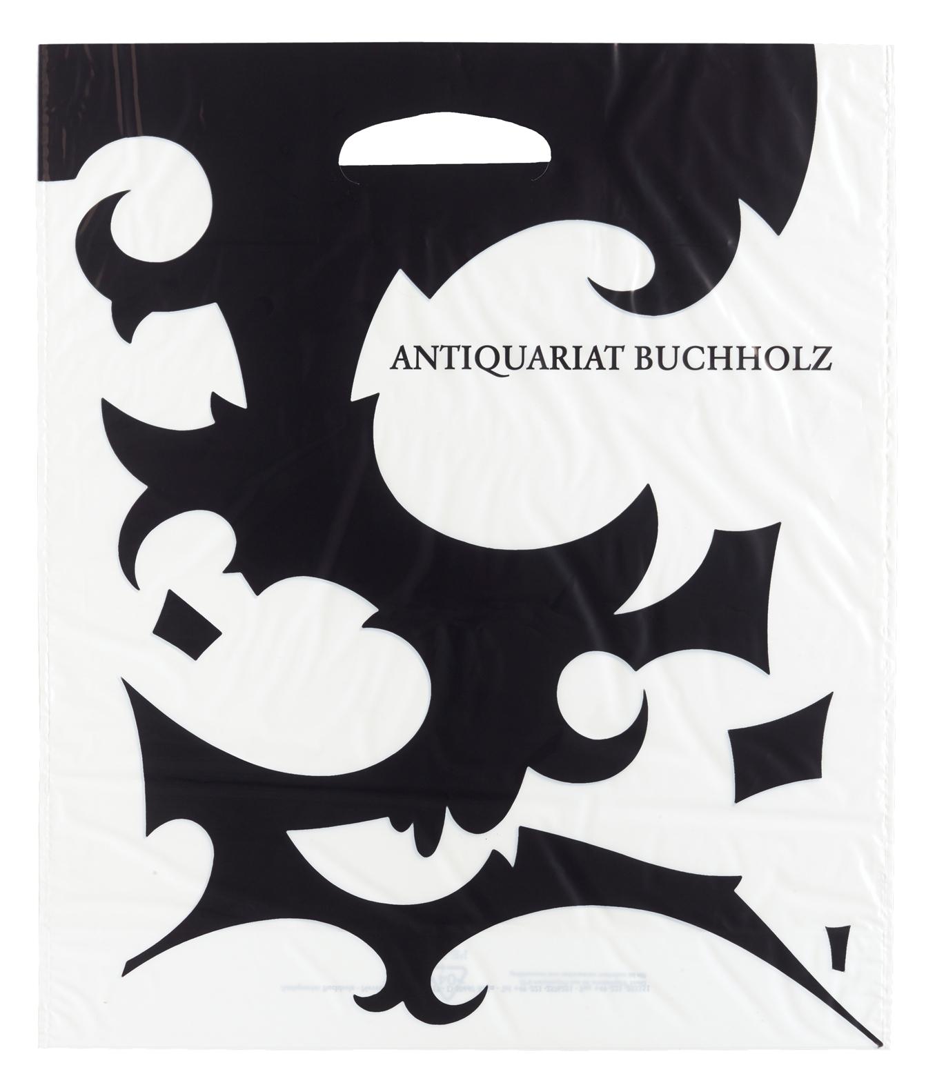 Julian Göthe – 2005, design for plastic shopping bag for Antiquariat Buchholz 43 x 38 cm –