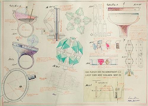 Udo Lefin – Ringstudie, 1991 Mischtechnik auf Papier 49,5 x 70 cm