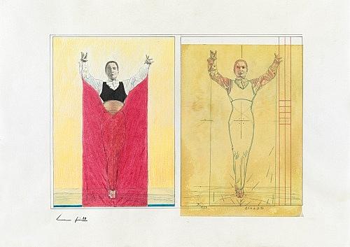 Udo Lefin – Ohne Titel, 1988 Bleistift und Buntstift auf Papier 42,8 x 60,8 cm