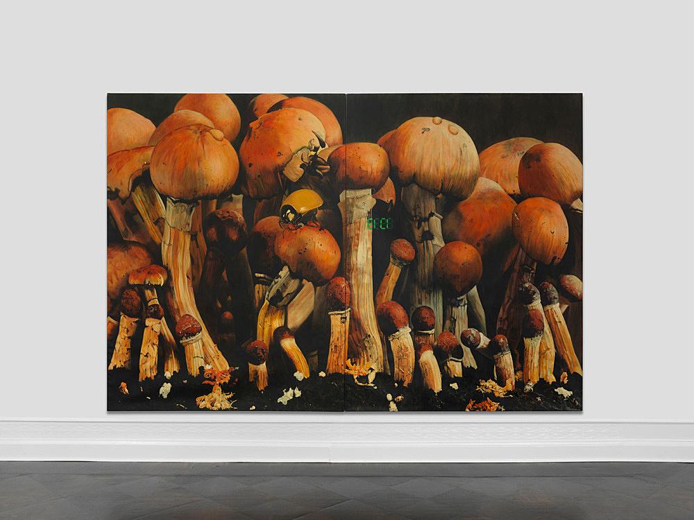 "Udo Lefin – ""Tempo"", 1983/84 Pigment und Lack auf Leinwand 2-teilig je 230 x 170 cm gesamt 230 x 340 cm"