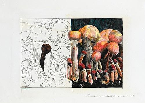 """Udo Lefin – """"Teonanacatl (Studie für eine Lackarbeit)"""", 1983 Bleistift und Lack auf Papier 42 x 59,5 cm"""