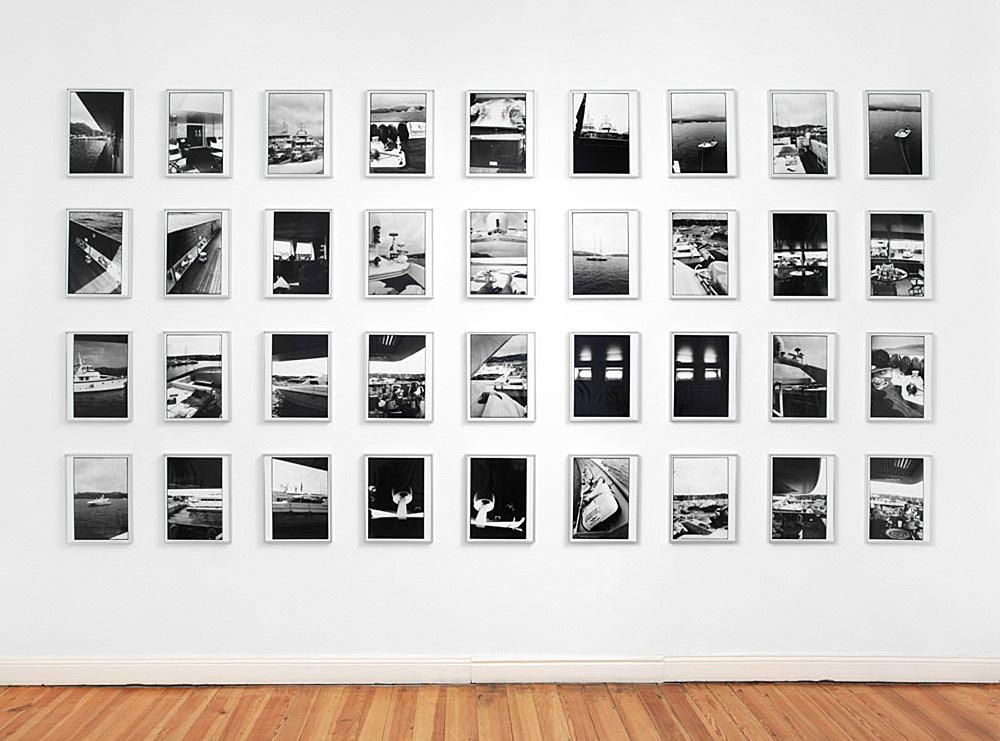 "Isa Genzken – ""Yachturlaub"", 1993 36 b/w-photographs unique each print: 35 x 25 cm each framed: 42 x 32 x 2.5 cm"