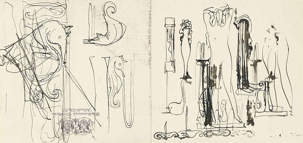 "Elie Nadelman – ""Sketches of Seahorses and Nude"", ca. 1930 ink on paper (Marlborough-Blenheim Hotel, Atlantic City stationery) 13,5 x 28 cm"