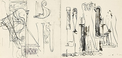 """Elie Nadelman – """"Sketches of Seahorses and Nude"""", ca. 1930 ink on paper (Marlborough-Blenheim Hotel, Atlantic City stationery) 13,5 x 28 cm"""