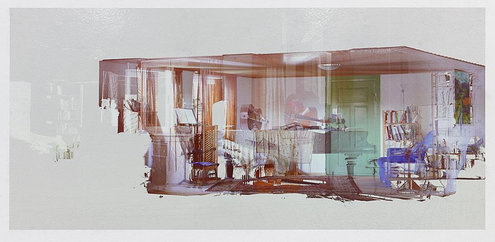 """Loretta Fahrenholz – """"Erlebnishof Millers, Music Room"""", 2015 digital print on foil 69.5 x 150 cm"""