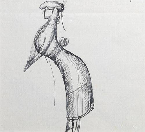"""Elie Nadelman – """"Concert Singer"""", ca. 1917 ink on paper 14,5 x 15 cm"""
