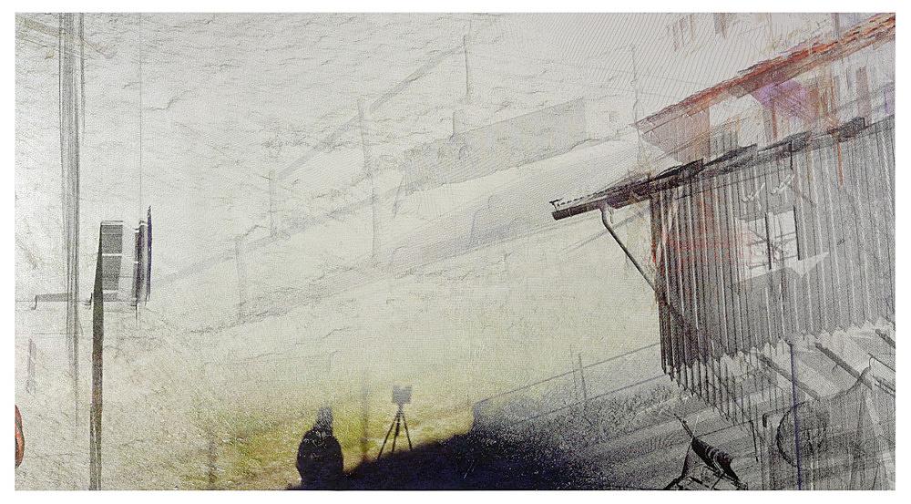 "Loretta Fahrenholz – ""Erlebnishof Millers, Hof/Yard 2"", 2015 digital print on foil 265.5 x 489 cm"