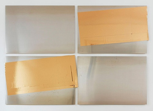 "Isa Genzken – ""Gold und Silber"", 2015 4 parts, steel panels, mirror foil overall dimensions: 185.5 x 269 cm"