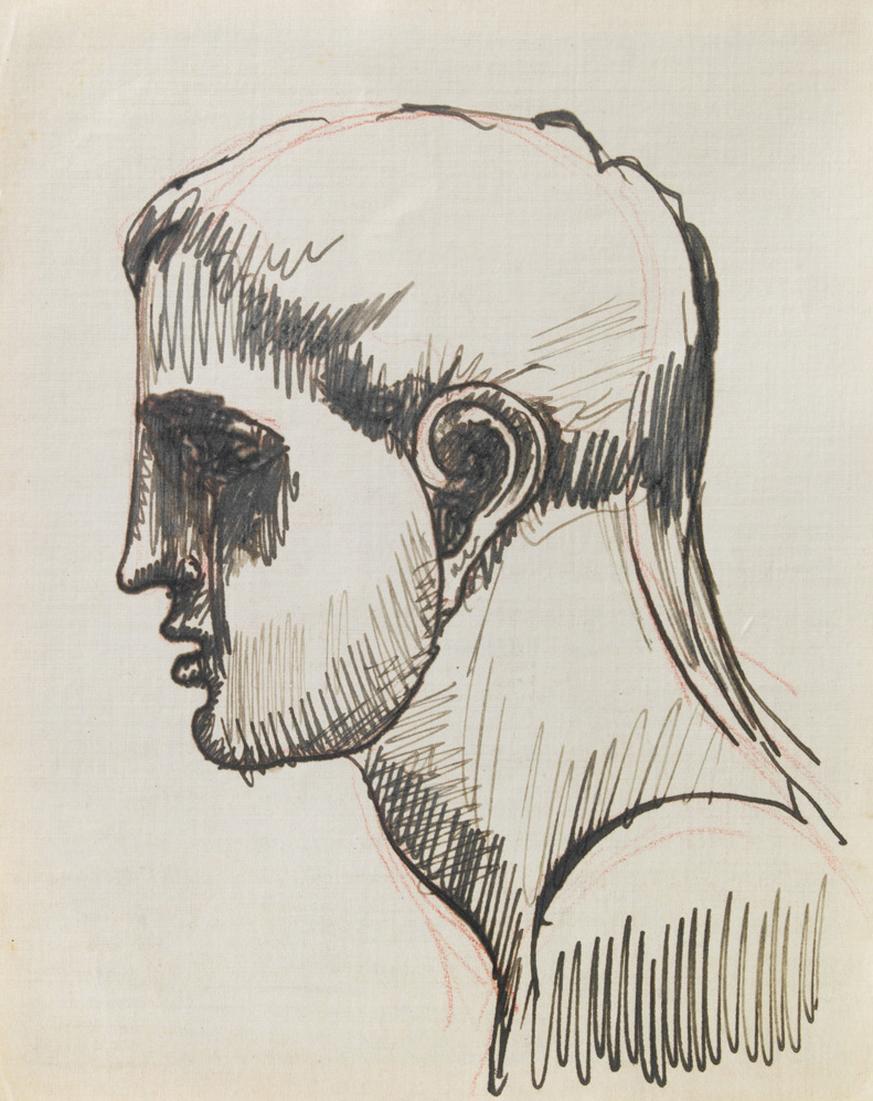 "Elie Nadelman – double sided drawing: ""Male Head in Profile"" ca. 1915 ink, pencil, and red pencil on paper & red pencil on paper 16,5 x 13,5 cm"