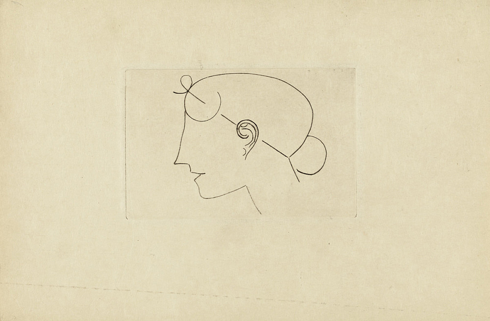 "Elie Nadelman – ""Untitled (Head Female)"", ca. 1921 pencil on paper 15 x 22,5 cm"