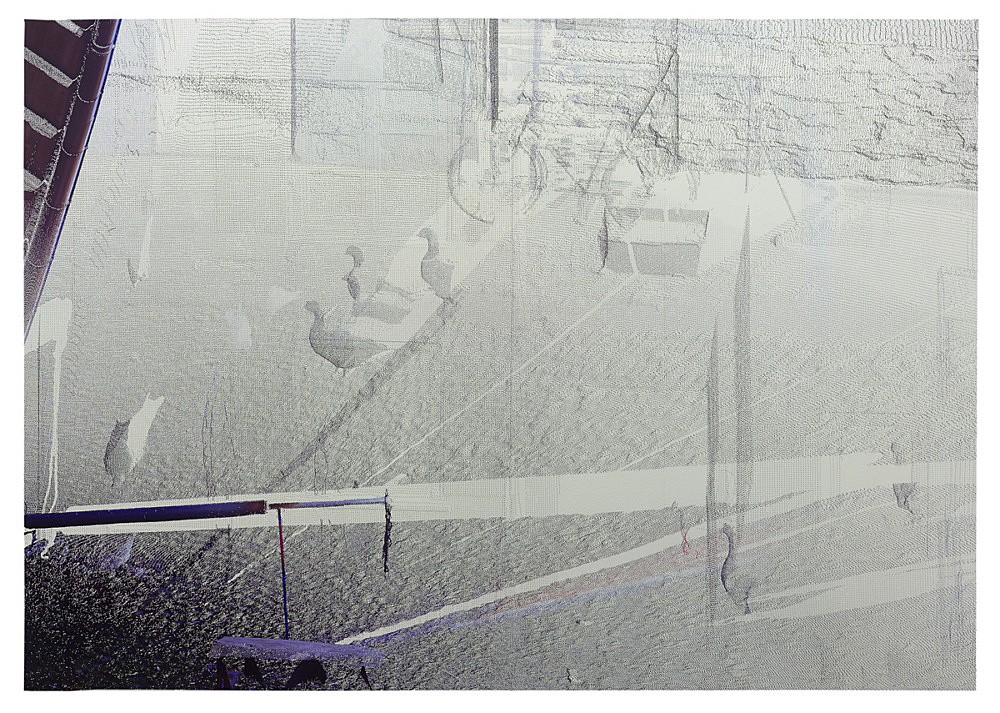 "Loretta Fahrenholz – ""Erlebnishof Millers, Hof/Yard 1"", 2015 digital print on foil 218 x 312 cm"