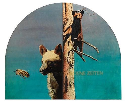 """Udo Lefin – """"Es kommen goldene Zeiten"""", 1987/88 Pigment und Lack auf Holz 2-teilig je 193 x 115,5 cm gesamt 193 x 231 cm"""