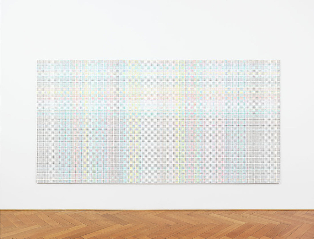 "Cheyney Thompson – ""StochasticProcessPainting (84048 steps):FunctionalPath (BoundryCondition:True(munsell.xls/2) (840.48meters)): //double peano"", 2015 oil on canvas 207 x 409 cm installation view Galerie Buchholz, Berlin 2015"