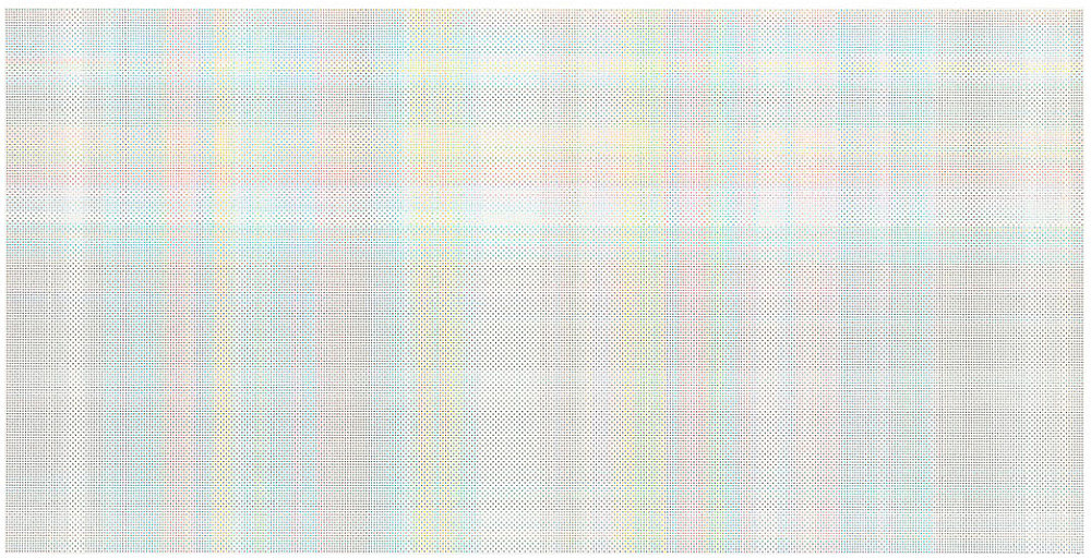 "Cheyney Thompson – ""StochasticProcessPainting (84048 steps):FunctionalPath (BoundryCondition:True(munsell.xls/2) (840.48meters)): //double peano"", 2015 oil on canvas 207 x 409 cm"
