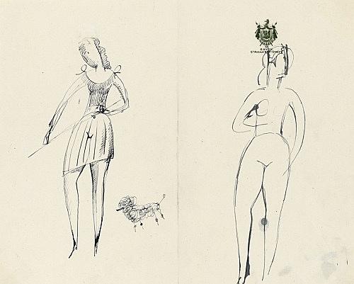Elie Nadelman – Untitled, n.d. ink on paper (Savoy Hotel, NY stationery) 20 x 24.8 cm