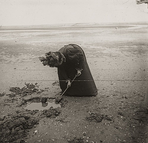 "– ""Raymond Roussel's mother Marguerite on the beach in Dieppe, Normandy"", ca. 1900 b/w photograph"