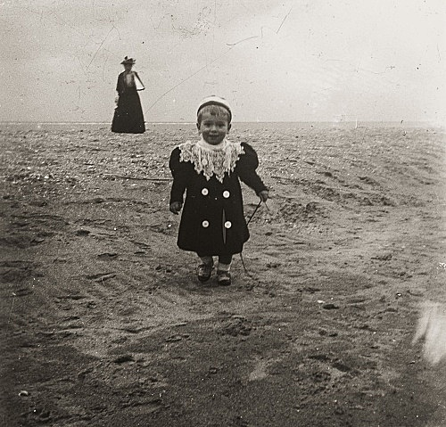 "– ""Raymond Roussel's sister Germaine and her first son Robert de Breteuil on the beach in Dieppe, Normandy"", ca. 1900 b/w photograph"