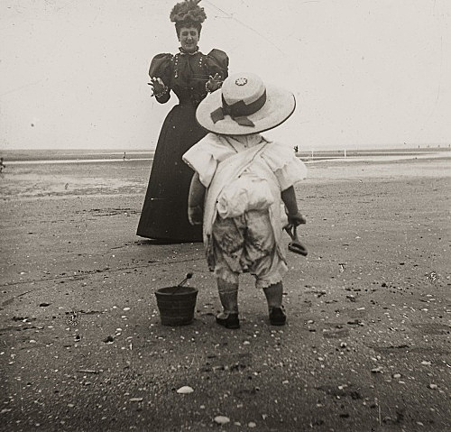 "– ""Raymond Roussel's mother Marguerite and his nephew Robert de Breteuil on the beach in Dieppe, Normandy"", ca. 1900 b/w photograph"