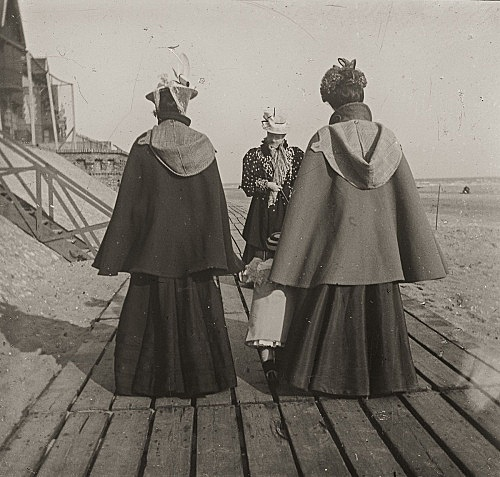 "– ""Raymond Roussel's mother Marguerite and sister Germaine, with her first son Robert de Breteuil on the beach in Dieppe, Normandy"", ca. 1900 b/w photograph"