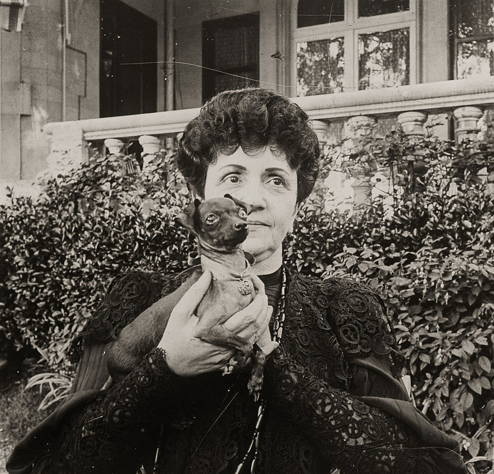 "– ""Raymond Roussel's mother in the garden of her house in Neuilly"", ca. 1900 b/w photograph"